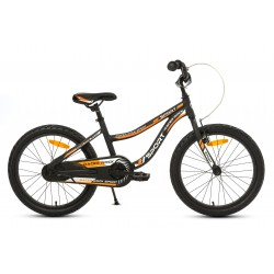 Rower 20 ROCK RACER Sport ALUM. czarno-pomarańczowy mat. bez kółek bocznych