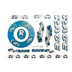 Naklejki KR5 - RACE samochody srebrno-niebieska