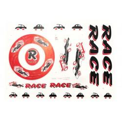 Naklejki KR5 - RACE samochody czarno-czerwona