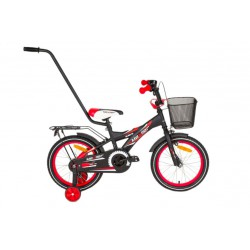 Rower 12 MEXLLER BMX czarno-czerwony mat + koszyk