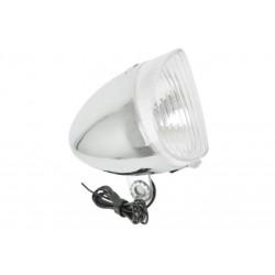Lampa przednia /dynamo/ RETRO stalowa chrom, żarówka