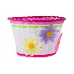Koszyk na kierownicę dziecięcy plast. różowo-biało-zielony z kwiatkami BS10-007