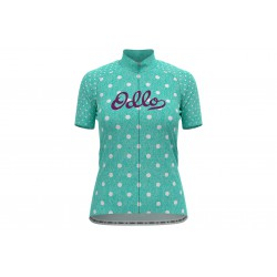 Koszulka ODLO STAND-UP COLLAR S/S FULL ZIP ESSENTAIL damska kr.rękaw na zamek morska w kropki S
