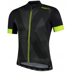 Koszulka ROGELLI BRISK full zip kr.r czarno-szaro-fluo XL