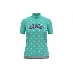 Koszulka OLDO CYCLING STAND-UP COLLAR S/S FULL ZIP ESSENTIAL damska kr.rękaw na zamek, morski w kropki M
