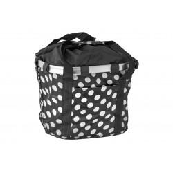 Koszyk na kierownicę z materiału HB-142 /KLIP/ 36x26x22 czarny w białe kropki