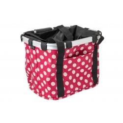 Koszyk na kierownicę z materiału HB-142 /KLIP/ 36x26x22 różowa w białe kropki