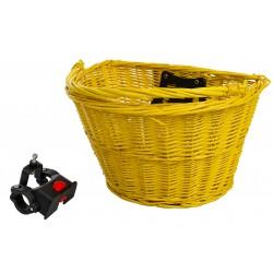 Koszyk na kierownicę wiklinowy na KLIP, żółty