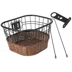 Koszyk na kierownicę drut + imitacja wikliny, czarno-brązowy