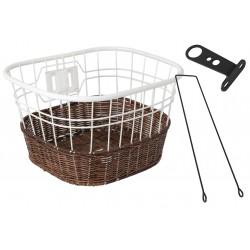 Koszyk na kierownicę drut + imitacja wikliny, biało-brązowy