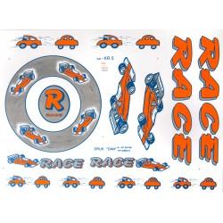 Naklejki KR5 - RACE samochody pomarańczowo-srebrna