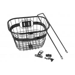 """Koszyk na kierownicę drut stal. mocowany w stery 1"""", wspornik na koło, czarny"""