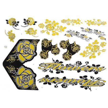 Naklejka KR5 - Flowers żółto-czarna zestaw
