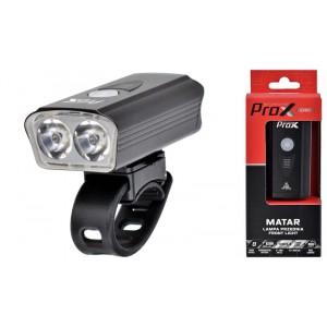 Lampa przednia /akumulator/ ProX MATAR 900lm, 2800mah, USB-C, 2xCREE XP-G3