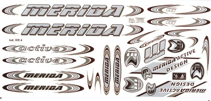 Naklejka KR4 - MERIDA srebrno-szara zestaw