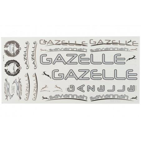 Naklejki rowerowe KR4 - GAZELLE srebrno-oliwkowe