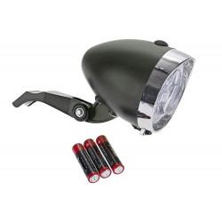 Lampa przednia /bateryjna/ RETRO 3 LED JY-592 czarna