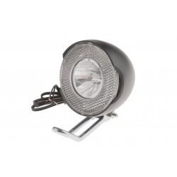 Lampa przednia /dynamo/ na widelec 1-LED-1W z wyłącznikiem i odblaskiem od 6V/2,4W do 6V/3W
