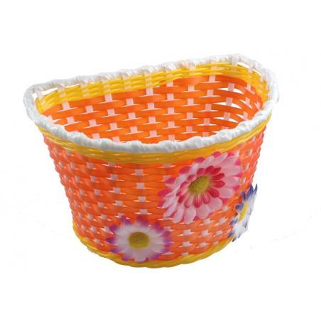 Koszyk na kierownicę dziecięcy plastikowy biało-żółto-pomarańczowy