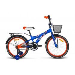 Rower dziecięcy 20 MEXLLER BMX niebiesko-pomarańczowy matowy + koszyk