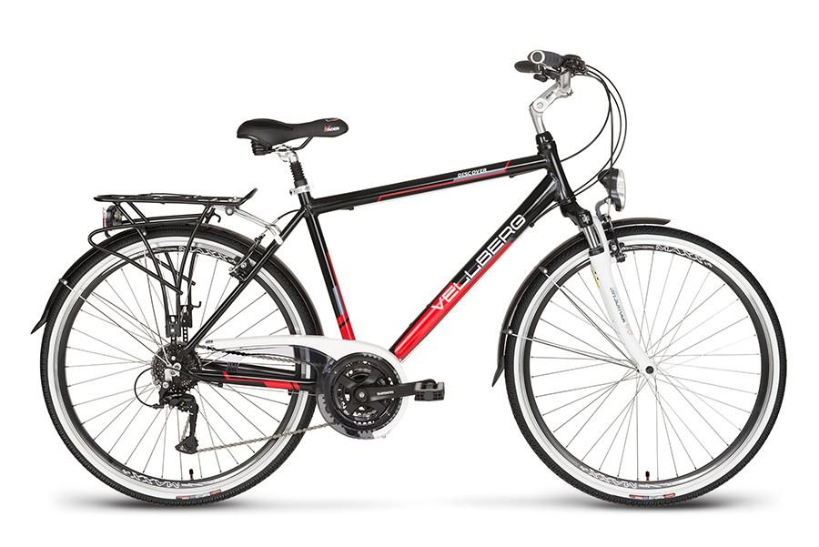 Rower 28 VELLBERG trekkingowy DISCOVER 1.1 Męski czarno-czerwony mat