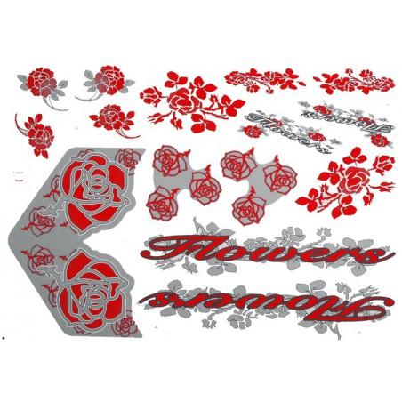 Naklejka KR5 - Flowers czerwono-srebrna