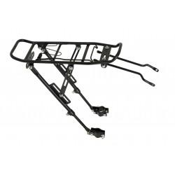 Bagażnik 20/28 regulowany aluminiowy mocowany na tylnim widelcu pod tarcze czarny