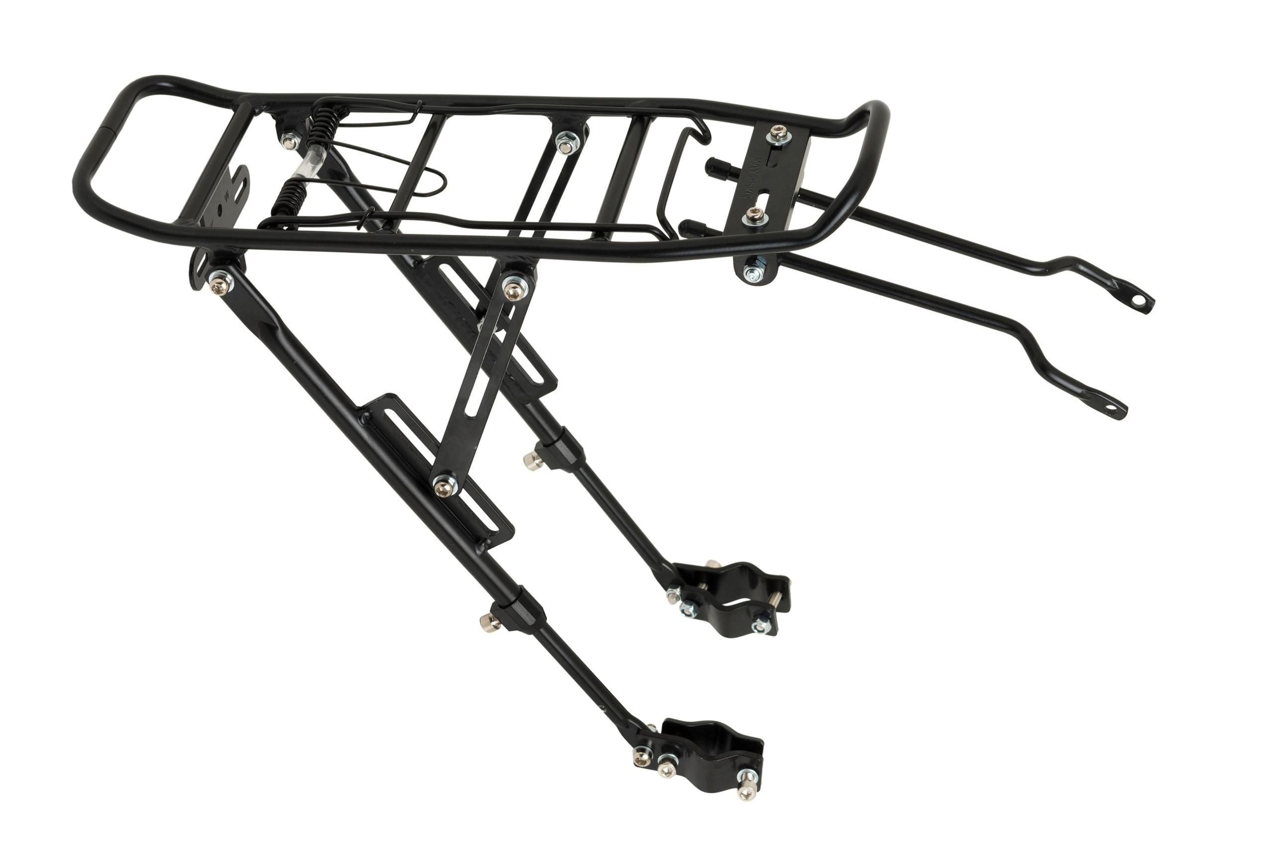 Bagażnik 20/28 regulowany aluminiowy mocowany na tylnym widelcu pod tarcze czarny