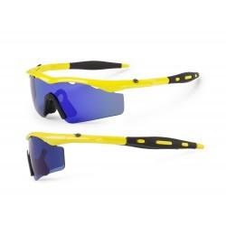 Okulary ACCENT CHICO żółte fluoro soczewki PC niebieskie lustrzane