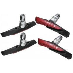 Klocki hamulcowe V-Brake imbus 72mm niesymetryczne V System Aqua Guide czar-czer 2pary/4szt/