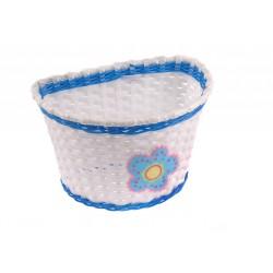 Koszyk na kierownicę dziecięcy plast. biało-niebieski z kwiatkiem BSO1-4