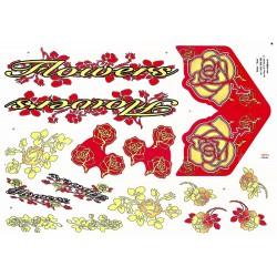 Naklejka KR5 - Flowers czerwono-żółta
