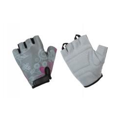 Rękawiczki ACCENT Flowers damskie szaro-różowe L