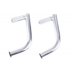Rogi aluminiowe wkładane do kierownicy długie srebrne