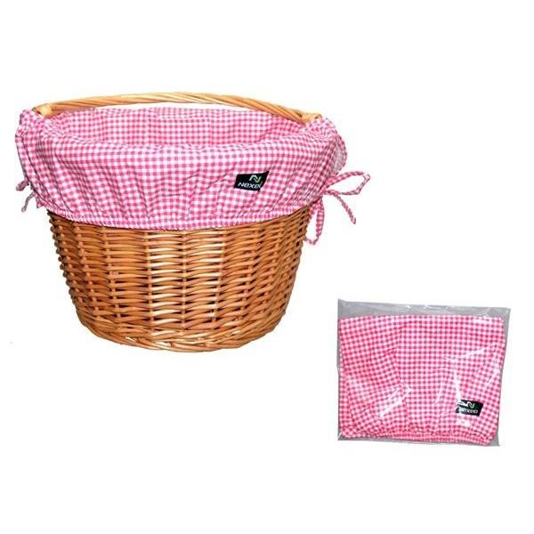 Wkładka do koszyka bawełniana biało-różowa kratka