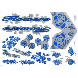 Naklejka KR5 - Flowers srebrno-niebieska