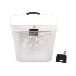 Koszyk na kierownicę zapinany+klips mocowany na wspornik kierownicy biały 35x25x26