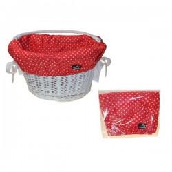 Wkładka do koszyka bawełniana , czerwona w białe kropki