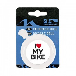 Dzwonek stal. M-wave I love my bike  biały