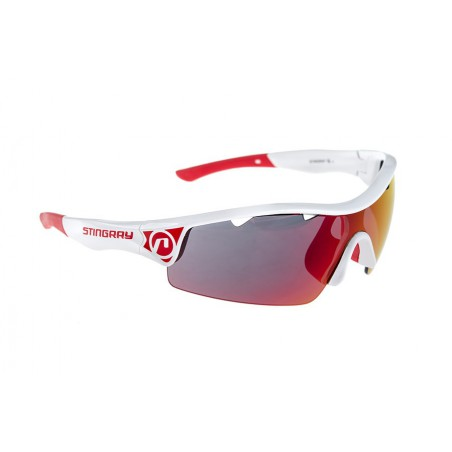 Okulary ACCENT Stingray biało czerwone  soczeweki PC czerwone lustrzane, przezroczyste