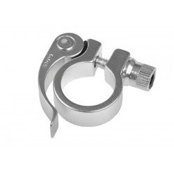 Obejma wspornika siodła + zacisk 28.6 mm srebrna