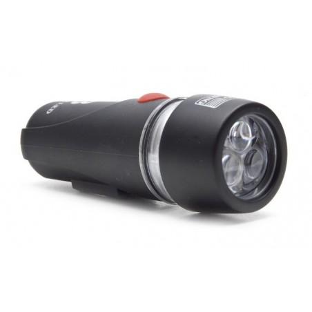 Lampa przednia bateryjna 3-fun. 3 diody XC-735A czarna