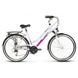 Rower 28 VELLBERG trekk. DISCOVER 2.1 D  Alivio biało-różowy poł. 17