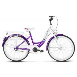 Rower 24 KANDS VITTORIA NEXUS 3-bieg. biał-fioletowa