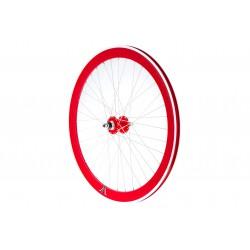 Koło 28 tył wolnobieg ALU stożek,FIX BIKE J14, czerwone, szprychy białe