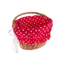 Wkładka do koszyka materiałowa, czerwona w białe kropki (duże)