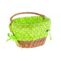 Wkładka do koszyka bawełniana, zielona w kropki