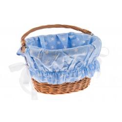 Wkładka do koszyka materiałowa, błękitna w białe gwiazdki
