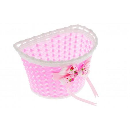 Koszyk na kierownicę dziecięcy plast. różowo-biały z kokardą