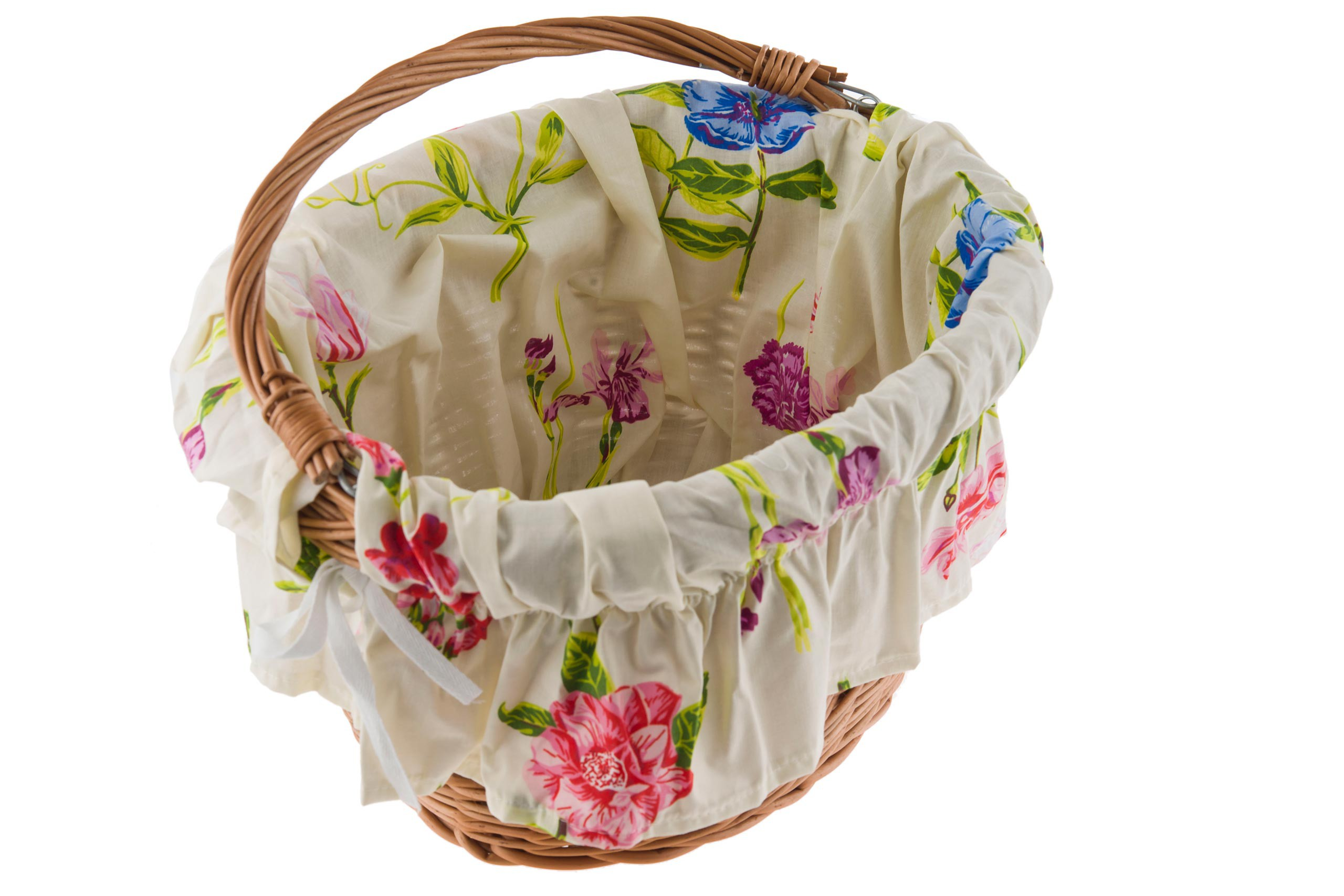 Wkładka do koszyka materiałowa, kremowa w kwiatki POLSKA